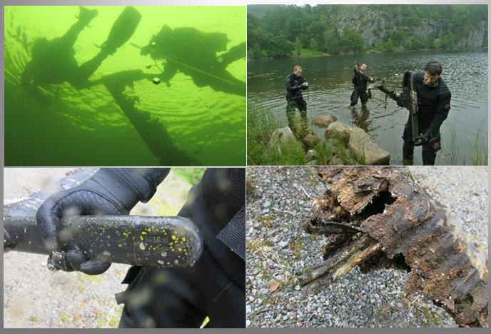 recupero del flap del Junker dal lago di Haaland