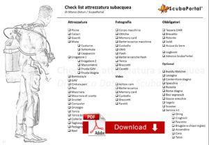 checklist attrezzatura subacquea