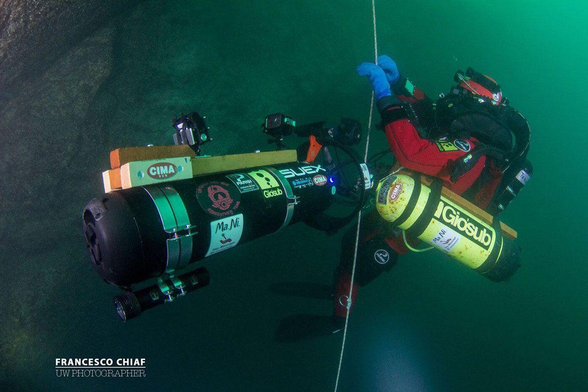 record di immersione profonda Luca Pedrali